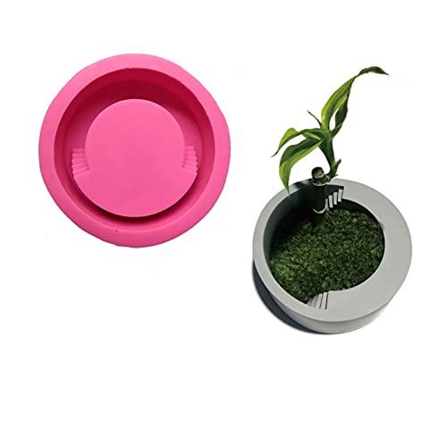 Stampo rotondo per fiori in calcestruzzo per fai da te in vaso di fiori succulenti in gesso in silicone stampo da tavolo Plansts in vaso decorazione per la casa