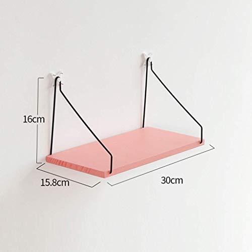 Eenvoudige Nordic houten wandplank, massief hout, woord, partitie, woonkamer, wanddecoratie, magazijnrek, zwemframe, donker hout, kleur roze, ruimtebesparend (maat: 3 planken) 30x15.8x16.5cm
