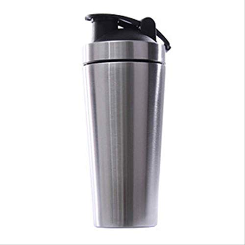 Thermal Mug ZXCJIA Stainless Steel Protein Vibrating Bottle Gym Shaker Sports Milkshake Blender Water B 23.5 * 8cm Silver