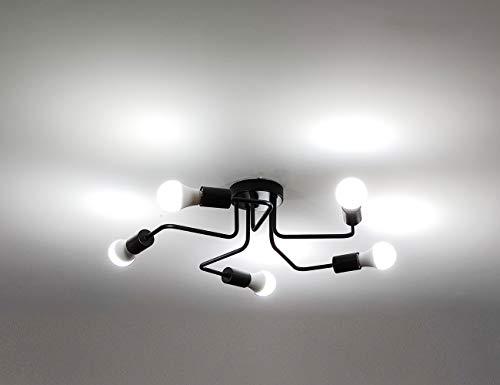 Surpars House 5-Light Flush Mount Industrial Ceiling Light,Black