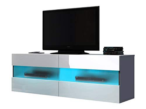 Mirjan24 TV Board Rikota, Fernsehschrank, TV Schrank mit Led Beleuchtung, Lowboard, TV Tisch, Fernsehtisch, Highboard, TV Bank, Sideboard (Weiß/Weiß Hochglanz)