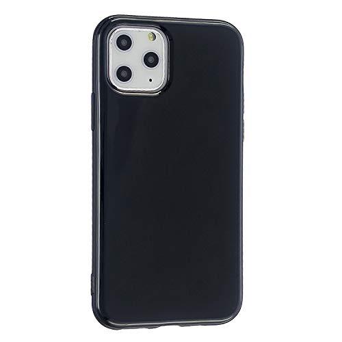 CrazyLemon Hülle für iPhone 11 Pro, Niedlich Volltonfarbe Klar Gelee Design Weich TPU Silikon Slim Dünn Handyhülle Stoßfest Schutzhülle - Schwarz