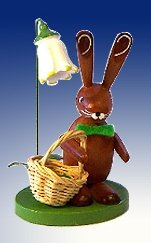 Rudolphs Schatzkiste Höhe 8cm Osterdeko Osterhasenfigur Ostern Korb Osterei Frühling Erzgebirge Seiffen Hase Blumen