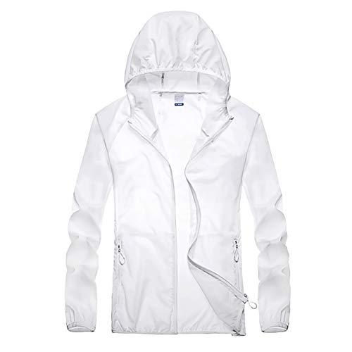 G&F Hommes Anti-UV Veste Manteau Softshell Protection Solaire pour en Plein Air Poids Léger Grande Taille M-5XL (Color : White, Size : M)