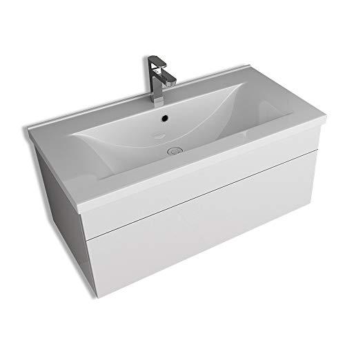 Home Deluxe - Badmöbel-Set - Wangerooge Big weiß - Small - inkl. Waschbecken und komplettem Zubehör - Breite Waschbecken: ca. 80 cm   Badezimmermöbel Waschtisch Badmöbelset