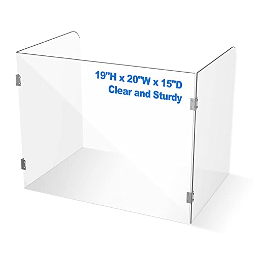 Portable Plexiglass Shield for Desk Counter Freestanding Clear Plexiglass Barrier for Counter Acrylic Desk Divider, No Cutout Trifold Sneeze Guard for Restaurant, Table, Classroom, Teacher, Student