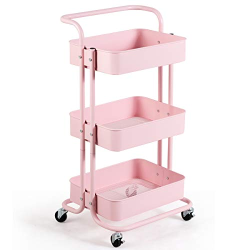 Giantex 3-Tier Rolling Cart, Metal Utility Cart, Kitchen Trolley Serving Cart with Top Handle, Lockable Casters and 3 Mesh Storage Baskets, Mobile Organizer Cart for Home and Office (Pink)