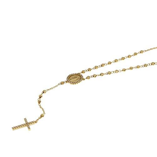 Cuello redondo rosario de oro 18kt con bolas sfaccettate Oro giallo