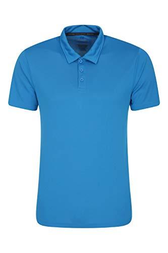 Mountain Warehouse Endurance Isocool Polo para Hombre - Top de protección UV, Camiseta Que Absorbe el Sudor, Parte de Arriba Transpirable - para el Verano, Correr Azul M