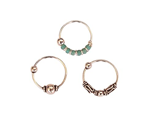 Set of 3 Small Sterling Silver 10mm Single Handmade Hoops for Cartilage, Helix, 2nd Ear Piercing Hoop Earrings