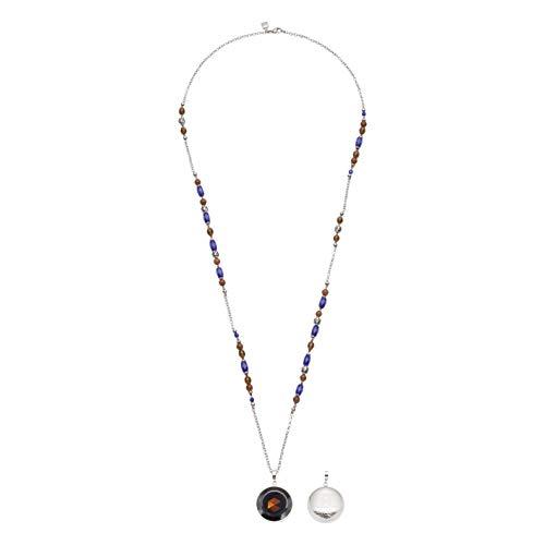 Jewels by Leonardo Damen-Halskette Marocco, Edelstahl mit Glasperlen und Anhänger, mit Karabinerverschluss, Clip & Mix System, Länge 900 mm, 016643