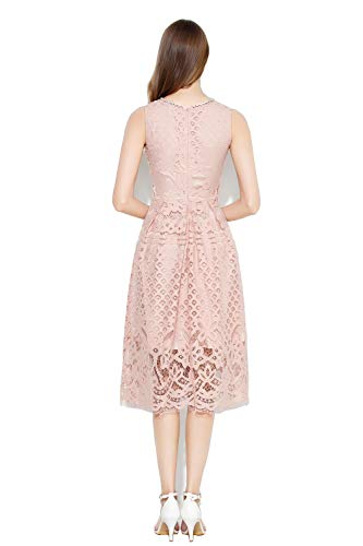 VEIIASR Womens Fashion Sleeveless Lace Fit Flare Elegant Cocktail Party Dress (Large, Pink)