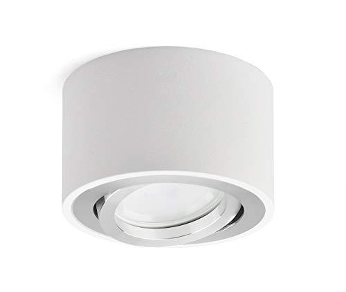 OPPER LED Aufputzleuchte Deckenleuchte flach Schwenkbar 230V Aufbau Deckenleuchte inkl. tauschbarem 5W LED Modul 3000K Warmweiß Ø80x50mm LED Aufputz Downlight weiß rund