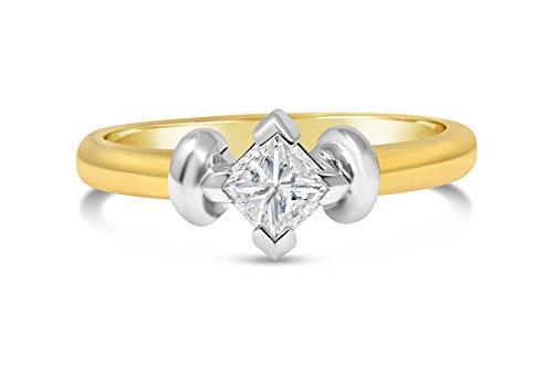 Princess-Schliff Diamant-Ring-0.34 ct G-VS2 ausgezeichneten Schnitt Solitär in 18 Karat Gelbgold-50 (15.9)