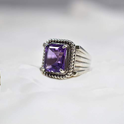 Amethyst Silver Men Ring, Solid 925K Sterling Silver, Faceted Square, Natural, Handmade Jewelry, Rope Design, Four Prong Design, Men's Amethyst Ring, Gift For Him, Good Friday Gift, Size 4-13