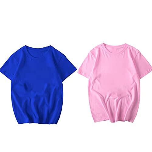 Camisa de Manga Corta Suelta de Color sólido de algodón Puro Camiseta Blanca para Hombres y Mujeres compasivo Verano de Media Manga