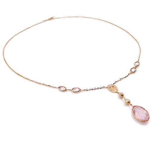 Gioielli Aurum - Collana da donna in oro giallo 18 kt girocollo rosario con Madonna Miracolosa e quarzo rosa