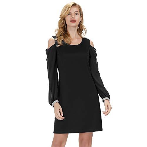 GRACE KARIN Damen Kalte Schulter Cocktailkleid Charmant Sommerkleid Elegant Business Kleid Schwarz...