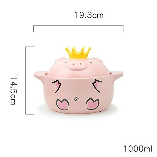 FCS Stielkasserolle Schwein Casserole Karikatur japanische Gas Hochtemperatur Haushalt Gesundheit Ceranfeldherd Suppentopf Küche Multifunktionstopf (Color : M)