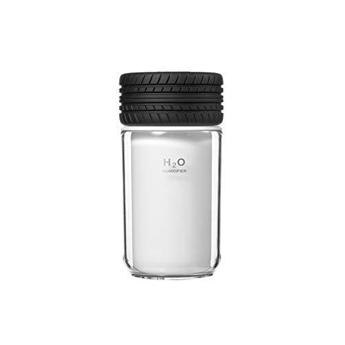 ZHLEYI Humidificadores de Aire 250 ml Humidificador de Aire de Aire Mini Estilo de neumático USB Ultrasónico Difusor de Agua Difusor de Escritorio Noche cálida Luz Mistán Fabricante (Color : Black)