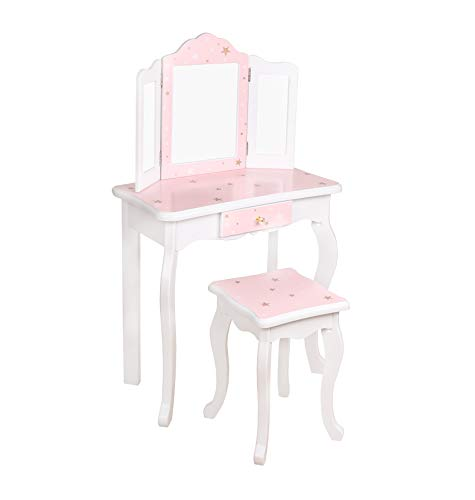 HYGRAD® Girls Dressing Table With Mirror and Stool, Childrens White/Pink Star Prints Wooden Kids Vanity Table with Crystal Knobs Childs Dressing Table Set for a Kid, Children Aged (6-13)