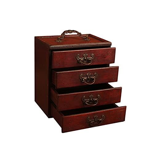 Joyero organizador,Joyeros Mujer Organizador Nuevo multifuncional for las mujeres 4 cajones hechos a mano antiguos de gran capacidad de gran capacidad de madera caja de joyería portátil del gabinete d