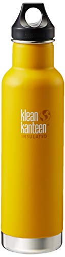 Klean Kanteen Classic Stainless Steel Double Wall Insulated Water Bottle with Loop Cap, 20-Ounce, Lemon Curry