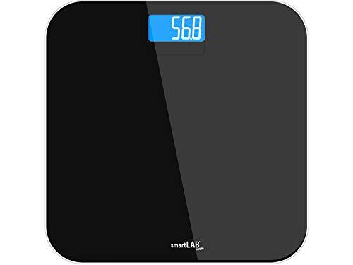 smartLAB scale báscula de baño de vidrio templado negro   báscula con la medición exacta de peso   balanzas digitales para el control de peso con pantalla LED