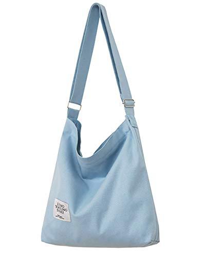 Covelin Women's Retro Large Size Canvas Shoulder Bag Hobo Crossbody Handbag Casual Tote Light Blue
