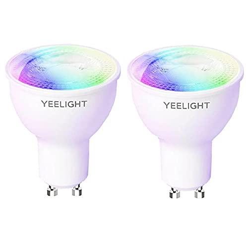 Yeelight Lámpara WiFi GU10 W1, 4,5 W, 350 lúmenes, no requiere concentrador, bombilla LED inteligente, compatible con sincronización, funciona con Google Assistant Alexa Control de (color, 2 unidad)