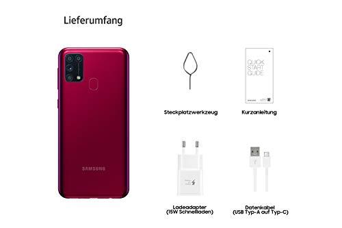 Samsung Galaxy M31 Android Smartphone ohne Vertrag, 4 Kameras, großer 6.000 mAh Akku, 6,4 Zoll Super AMOLED FHD+ Display, 64GB/6GB RAM, Handy in rot, deutsche Version exklusiv bei Amazon