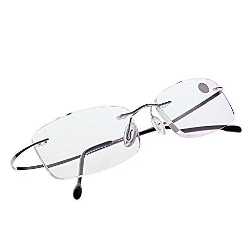 Kalttoy Ultraleichtes Titan randlose rechteckige Brille Brille Brillengestell Brillen (Silber, 1.5)