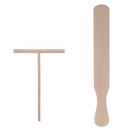 UPKOCH Crepe Maker Tools - Esparcidor de madera en forma de T para panqueques y utensilios de cocina para restaurante y establo de comida para el hogar