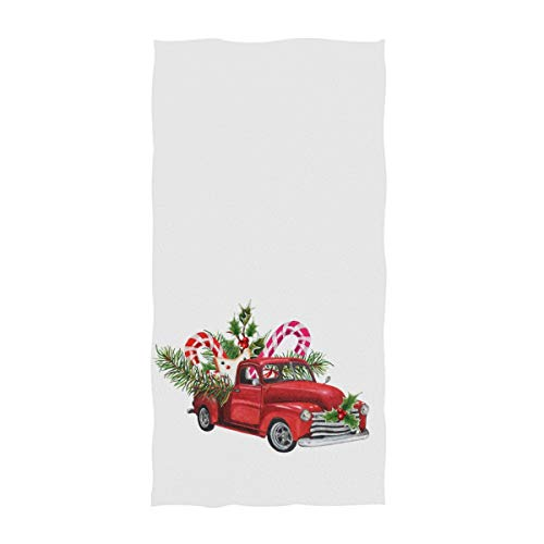 Naanle Christmas Red Toy Model Truck Loaded with Sweets Spruce Twigs Holly Leaves & Berries Soft Large Hand Towels Multipurpose for Bathroom, Hotel, Gym and Spa (16' x 30',White)