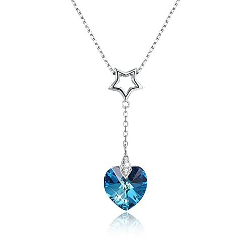 BENHAI Mujer/Niñas Azul Corazón Forma Diseño Cristales Colgante Collar, 925 Plateado Swarovski Element Colgante Joyería Regalo para el día de la Madre para Mujer De Amor Regalos para Mamá 41+4cm