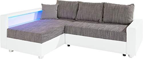 Collection AB Enjoy Polsterecke mit Bettfunktion und Bettkasten Ecksofa, Stoff, Weiß/grau, 161 x 224 x 84 cm