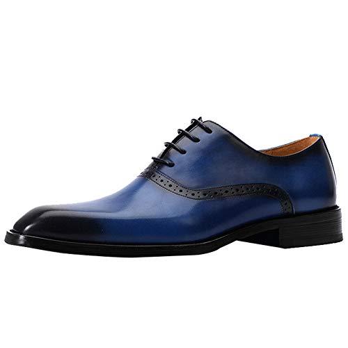 WMZQW Herren Lederschuhe Low-Top England Schuhe Business Anzugschuhe Oxford Smoking Hochzeit Schnürhalbschuhe Brogue 38-46,Blau,37