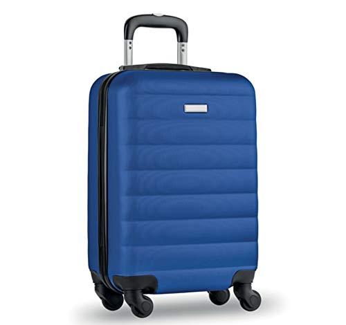 Maleta de Viaje rígida 34X20X47 cm, Tamaño de Cabina, Trolley ABS. Compartimento Principal y Compartimento Interior. Cierre Seguridad Integrado. (Azul)