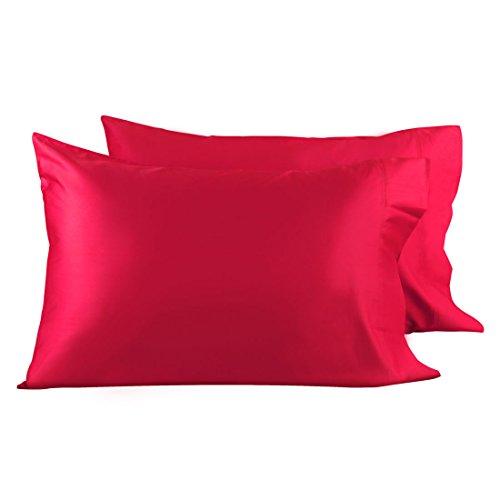 uxcell Soft 600TC Fundas de almohada 100% algodón peinado largo juego de 2 fundas de almohada antimicrobianas, acné, fundas de almohada de cama, rojo King