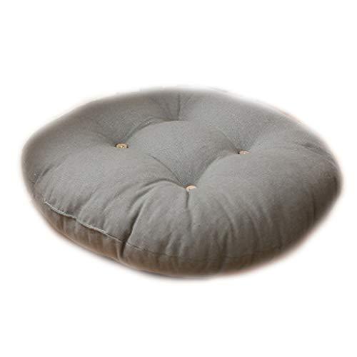 VVXXMO 45x12cm Round Thicken Seat Pads,Cojín de futón acolchado antideslizante,Almohada de tatami de lino de algodón con botones de madera a rayas