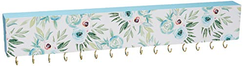 SANY DAYO HOME Wall Mounted Necklace Holder 16 x 3 inches Wood Hanging Jewelry Organizer with 15 Hooks for Necklaces, Girl Hair Bows, Bracelets - Elegant Rose