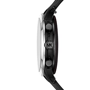 Michael Kors Women's Access Runway Stainless Steel Touchscreen Watch with Silicone Strap, Black, 18 (Model: MKT5049)
