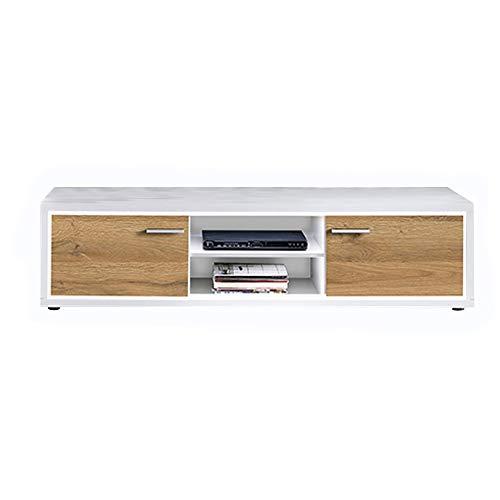 Newfurn TV Lowboard natuur TV kast TV tafel rek board II 175,2x45x 46,6 cm (BxHxD) II [Flynnnnnnnntwo] in wit / Grandson donker eiken woonkamer slaapkamer