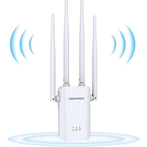GUHUASHI Repetidor WiFi, Amplificador de señal WiFi de 300 Mbit s 2,4 GHz Extensor WiFi de Red Ap Repeater Router Modos, 4 Antenas ,Puerto LAN WAN, WPS Extensor de Alcance WiFi