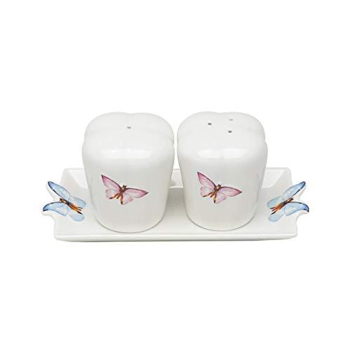 Conjunto 3 Pc De Porcelana Saleiro E Pimenteiro C/bandeja Borboletas 8x7,5cm Wolff Borboletas Única