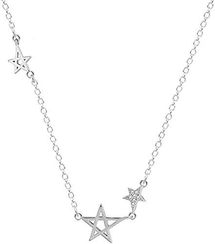 NC190 Mujeres Hombres Colgante Zircon Hollow Star Colgante Collar Brillante O Cadena Collar de Estrella (Regalo de Mujer)