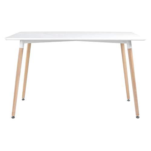 BENEFFITO Senja – Tavolo rettangolare 120 x 70 cm – 6 persone – Raffinato e moderno – Bianco