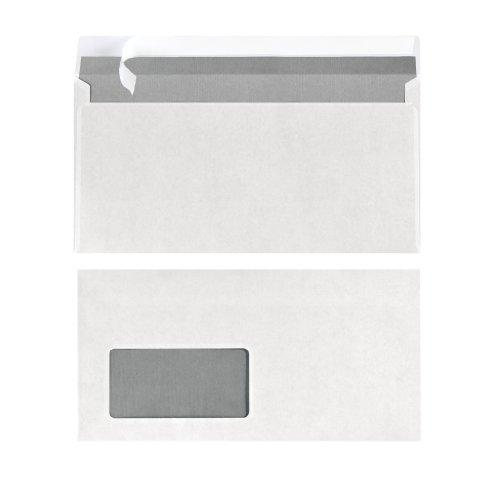 Herlitz Briefumschlag DIN Lang Haftklebend mit Fenster, 25 Stück mit Innendruck in Folienpackung, eingeschweißt, weiß
