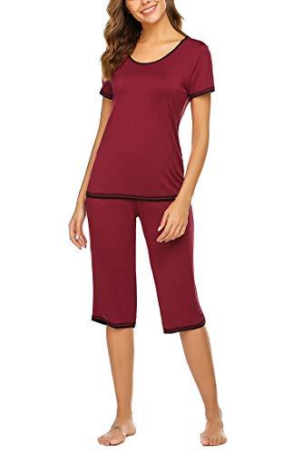UNibelle Damen Zweiteiliger Schlafanzug Einfarbig Weich Lounge Pyjama Set Nachtwäsche Hausanzug Kurzarm Shirt Lang Hose Sleepwear Loungewear mit Rundhals (Weinrot, M)