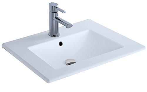Cygnus Bath Extraplano Lavabo Porcelana, Blanco Brillo, 60 cm, 12 Unidades